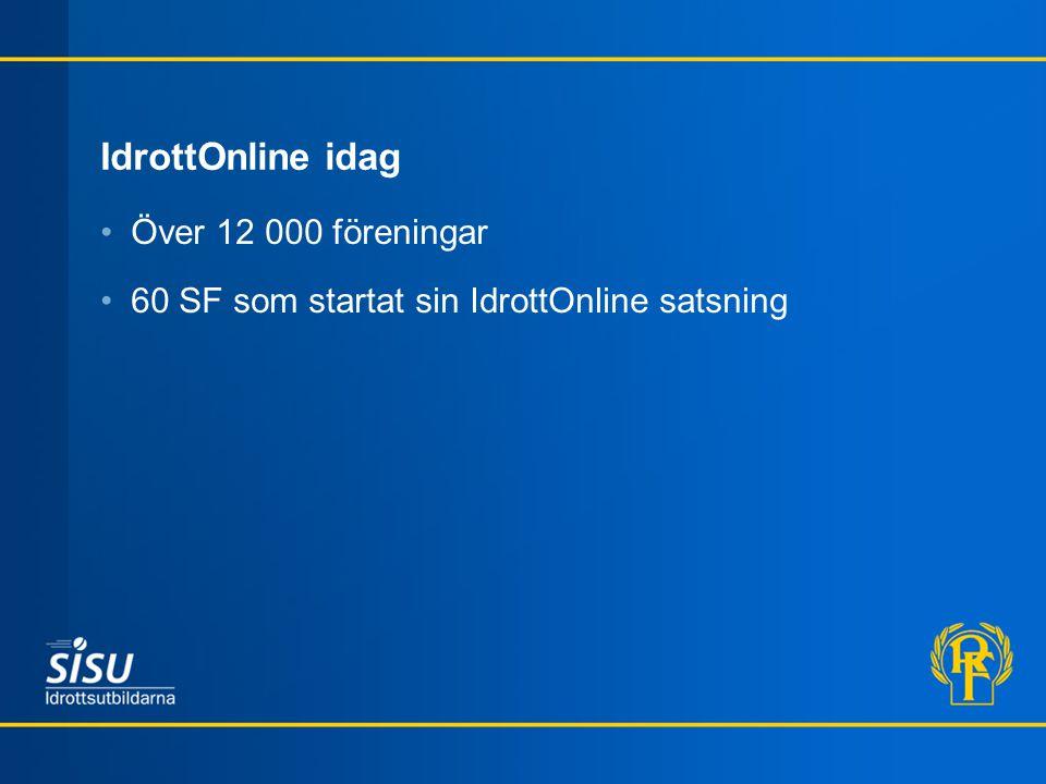 IdrottOnline idag Över 12 000 föreningar 60 SF som startat sin IdrottOnline satsning