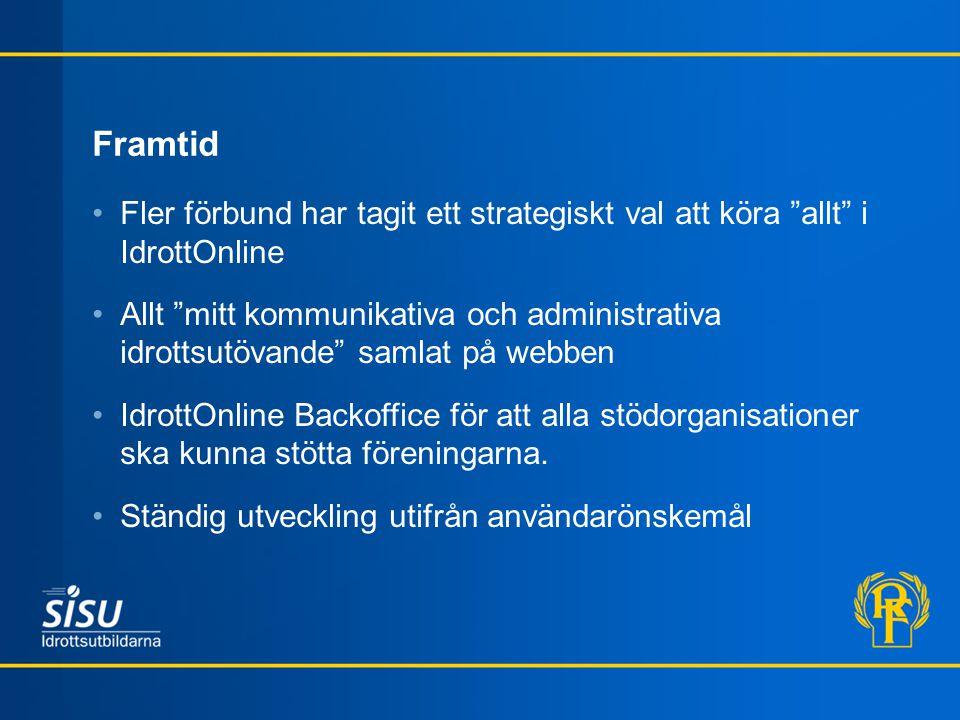 """Framtid Fler förbund har tagit ett strategiskt val att köra """"allt"""" i IdrottOnline Allt """"mitt kommunikativa och administrativa idrottsutövande"""" samlat"""