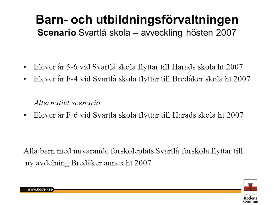Barn- och utbildningsförvaltningen Scenario Svartlå skola – avveckling hösten 2007 Elever år 5-6 vid Svartlå skola flyttar till Harads skola ht 2007 E