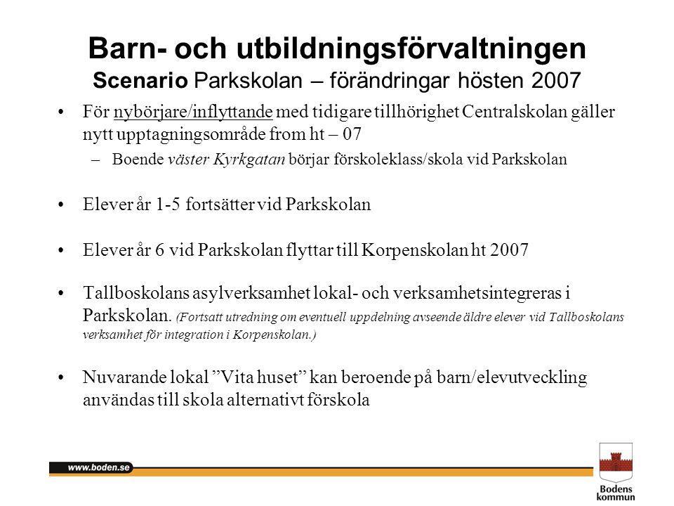 Barn- och utbildningsförvaltningen Scenario Parkskolan – förändringar hösten 2007 För nybörjare/inflyttande med tidigare tillhörighet Centralskolan gä
