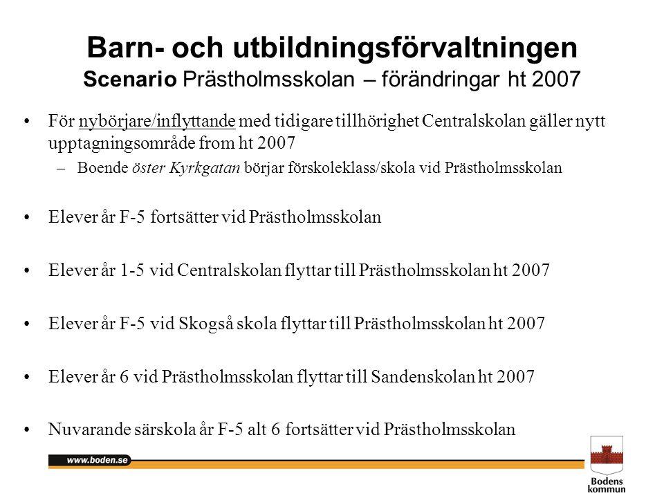 Barn- och utbildningsförvaltningen Scenario Prästholmsskolan – förändringar ht 2007 För nybörjare/inflyttande med tidigare tillhörighet Centralskolan