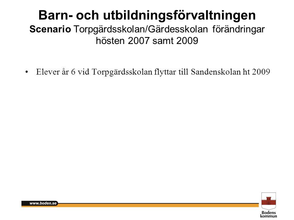 Barn- och utbildningsförvaltningen Scenario Torpgärdsskolan/Gärdesskolan förändringar hösten 2007 samt 2009 Elever år 6 vid Torpgärdsskolan flyttar ti