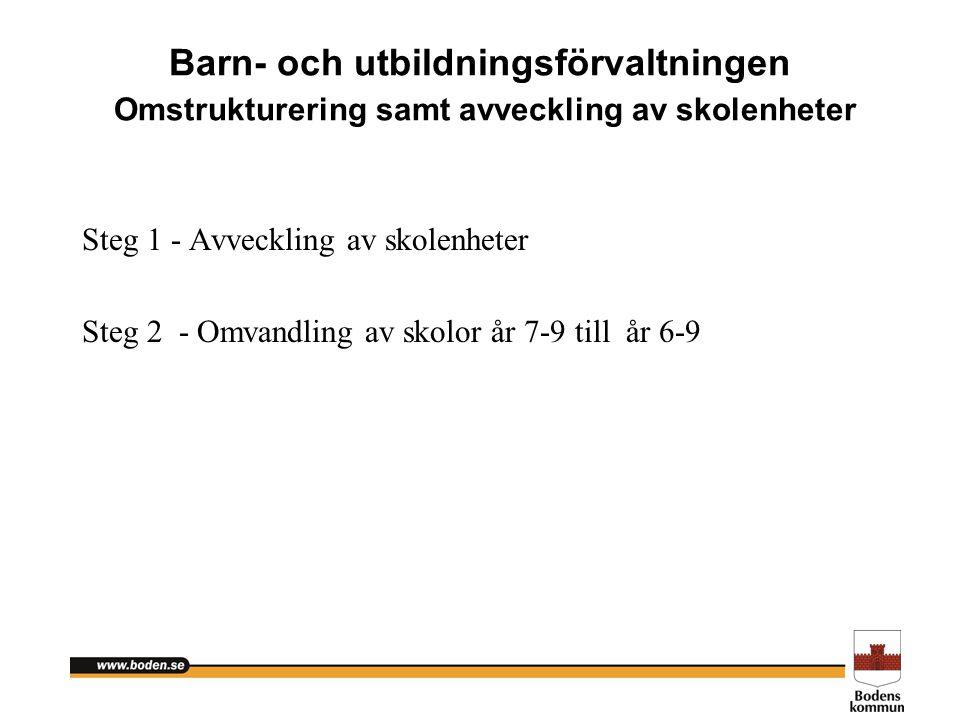 Barn- och utbildningsförvaltningen Omstrukturering samt avveckling av skolenheter Steg 1 - Avveckling av skolenheter Steg 2 - Omvandling av skolor år