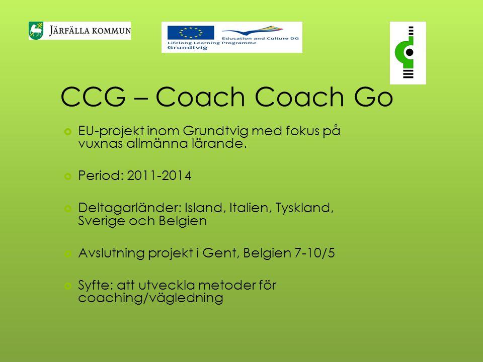 CCG – Coach Coach Go  EU-projekt inom Grundtvig med fokus på vuxnas allmänna lärande.  Period: 2011-2014  Deltagarländer: Island, Italien, Tyskland
