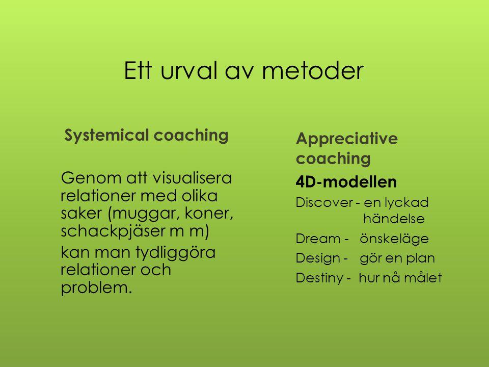 Ett urval av metoder Systemical coaching Genom att visualisera relationer med olika saker (muggar, koner, schackpjäser m m) kan man tydliggöra relatio