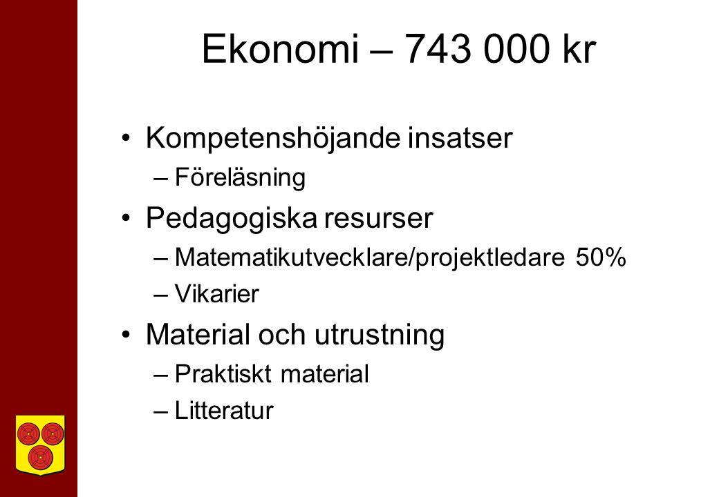 Ekonomi – 743 000 kr Kompetenshöjande insatser –Föreläsning Pedagogiska resurser –Matematikutvecklare/projektledare 50% –Vikarier Material och utrustning –Praktiskt material –Litteratur