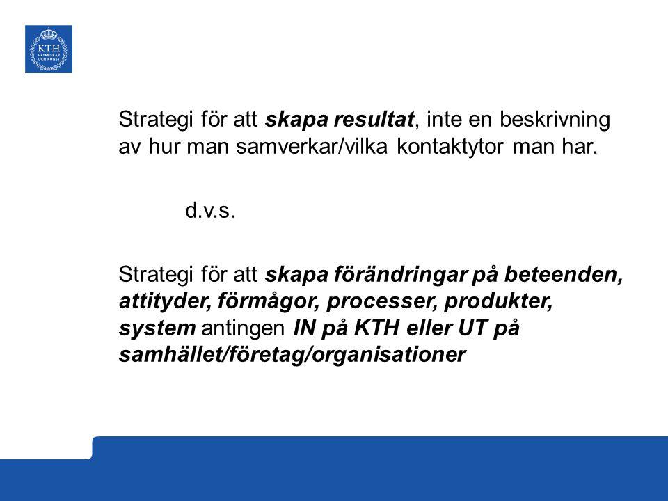 Strategi för att skapa resultat, inte en beskrivning av hur man samverkar/vilka kontaktytor man har. d.v.s. Strategi för att skapa förändringar på bet