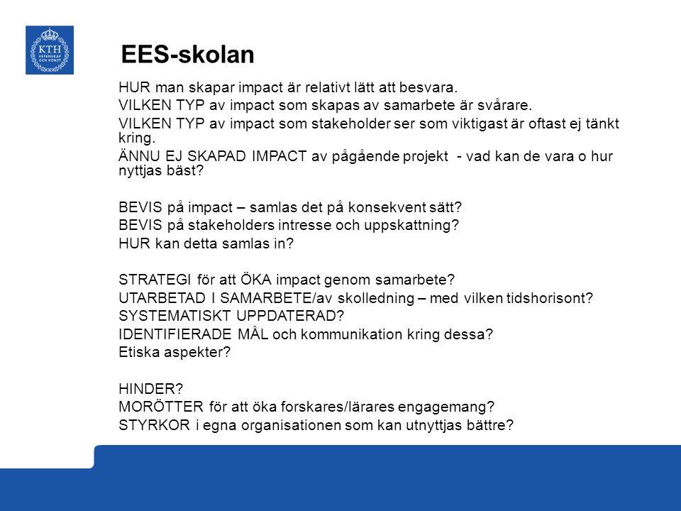 EES-skolan HUR man skapar impact är relativt lätt att besvara. VILKEN TYP av impact som skapas av samarbete är svårare. VILKEN TYP av impact som stake