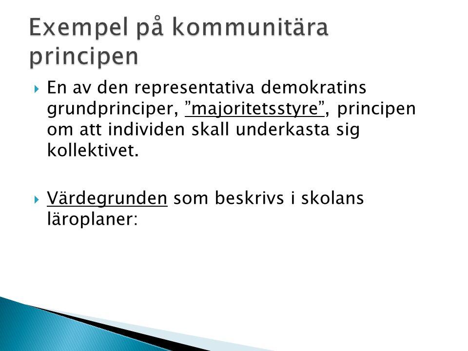  En av den representativa demokratins grundprinciper, majoritetsstyre , principen om att individen skall underkasta sig kollektivet.