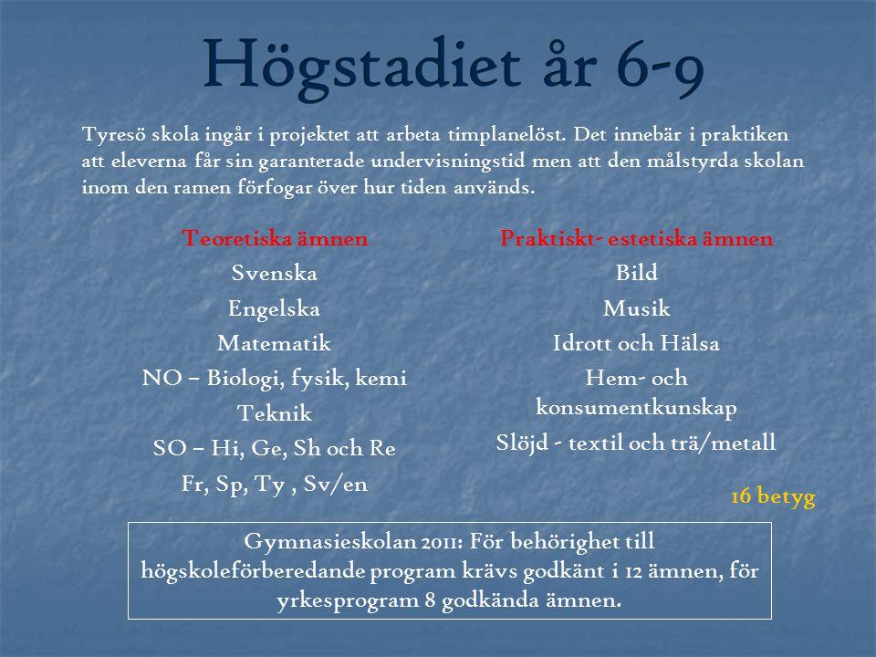 Teoretiska ämnen Svenska Engelska Matematik NO – Biologi, fysik, kemi Teknik SO – Hi, Ge, Sh och Re Fr, Sp, Ty, Sv/en Praktiskt- estetiska ämnen Bild