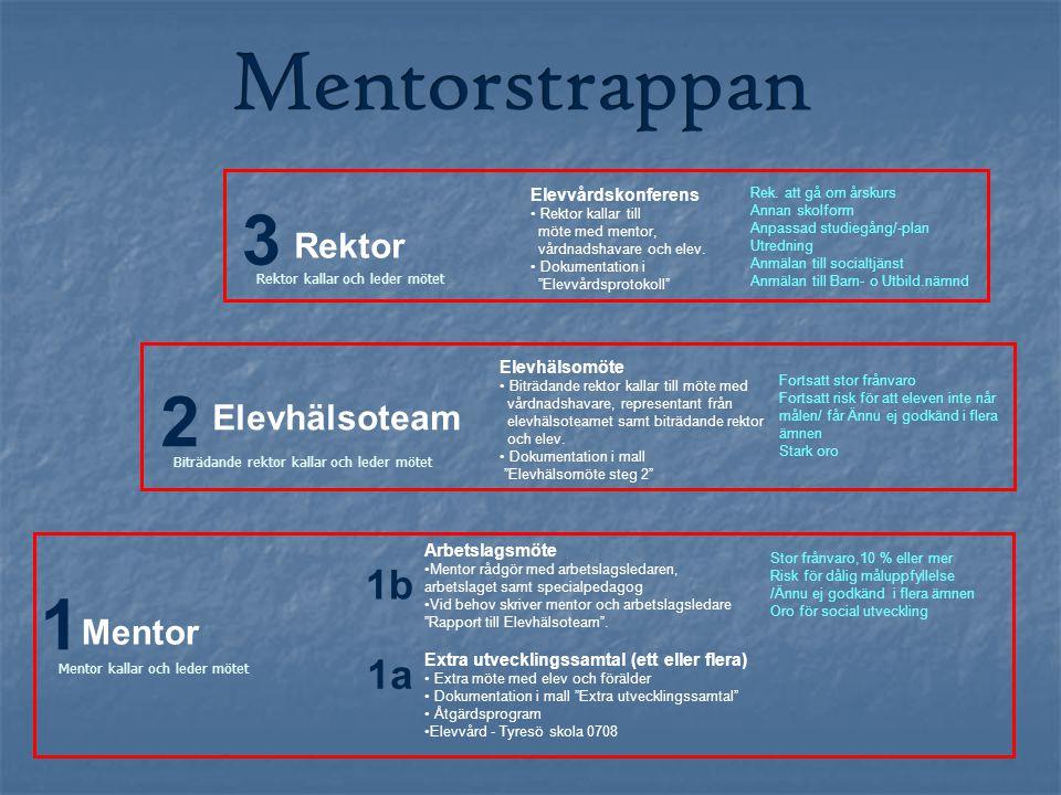 """1 2 Arbetslagsmöte Mentor rådgör med arbetslagsledaren, arbetslaget samt specialpedagog Vid behov skriver mentor och arbetslagsledare """"Rapport till El"""