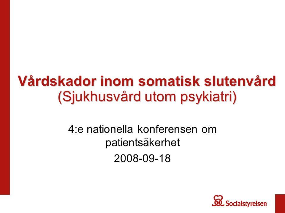Vårdskador inom somatisk slutenvård (Sjukhusvård utom psykiatri) 4:e nationella konferensen om patientsäkerhet 2008-09-18