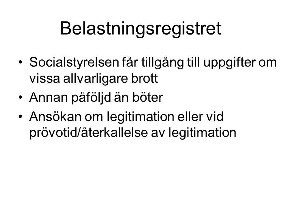Belastningsregistret Socialstyrelsen får tillgång till uppgifter om vissa allvarligare brott Annan påföljd än böter Ansökan om legitimation eller vid prövotid/återkallelse av legitimation