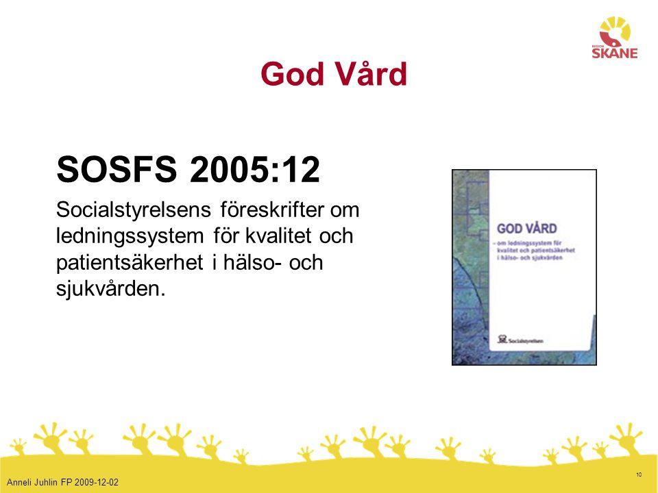 10 God Vård SOSFS 2005:12 Socialstyrelsens föreskrifter om ledningssystem för kvalitet och patientsäkerhet i hälso- och sjukvården. Anneli Juhlin FP 2