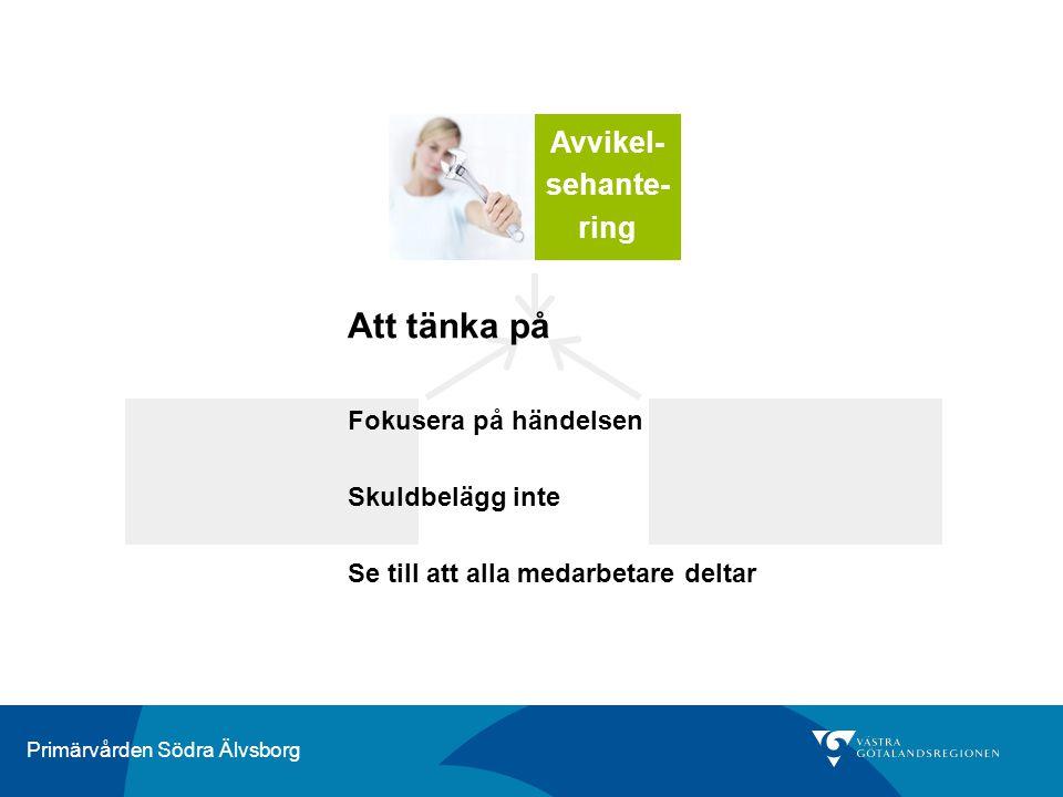 Primärvården Södra Älvsborg Risk- analys Avvikel- sehante- ring Att tänka på Fokusera på händelsen Skuldbelägg inte Se till att alla medarbetare delta