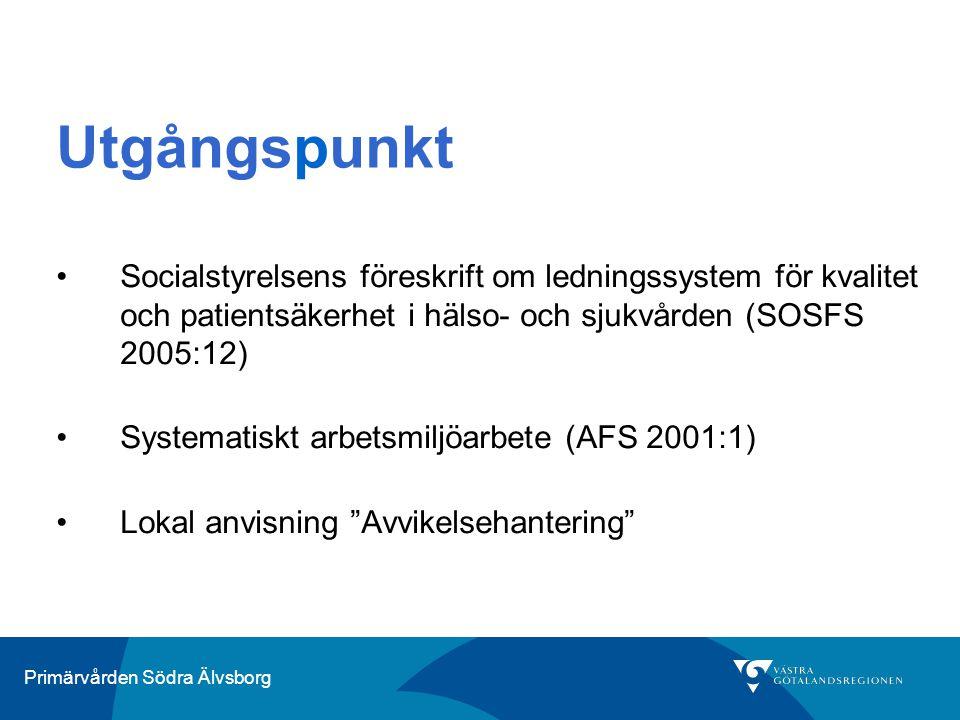 Primärvården Södra Älvsborg Utgångspunkt Socialstyrelsens föreskrift om ledningssystem för kvalitet och patientsäkerhet i hälso- och sjukvården (SOSFS