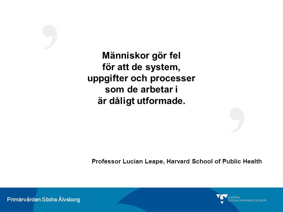 Primärvården Södra Älvsborg Människor gör fel för att de system, uppgifter och processer som de arbetar i är dåligt utformade. ' ' Professor Lucian Le