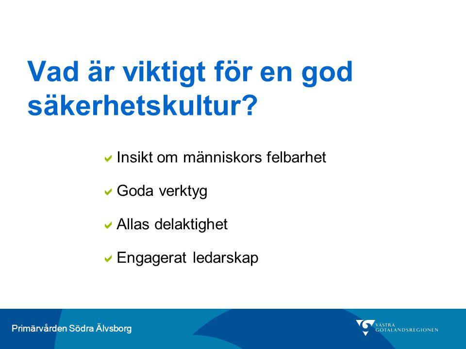 Primärvården Södra Älvsborg Vad är viktigt för en god säkerhetskultur?  Insikt om människors felbarhet  Goda verktyg  Allas delaktighet  Engagerat