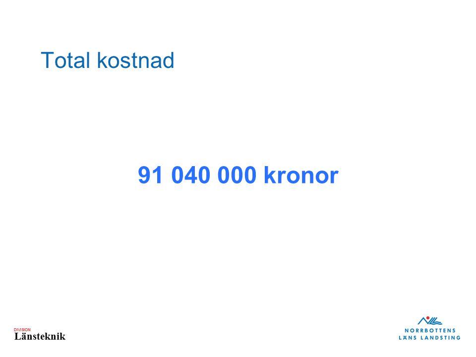 DIVISION Länsteknik Total kostnad 91 040 000 kronor