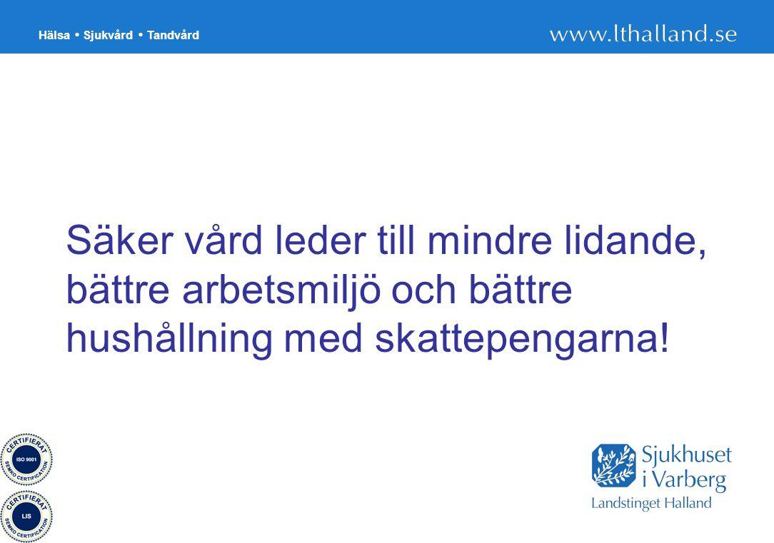 Hälsa Sjukvård Tandvård 26 Säker vård leder till mindre lidande, bättre arbetsmiljö och bättre hushållning med skattepengarna!