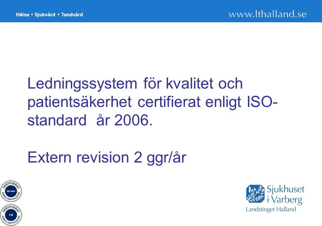 Hälsa Sjukvård Tandvård 27 Ledningssystem för kvalitet och patientsäkerhet certifierat enligt ISO- standard år 2006. Extern revision 2 ggr/år