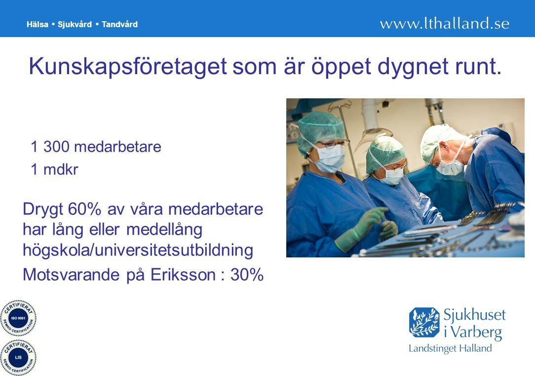 Hälsa Sjukvård Tandvård 9 Kunskapsföretaget som är öppet dygnet runt. Drygt 60% av våra medarbetare har lång eller medellång högskola/universitetsutbi