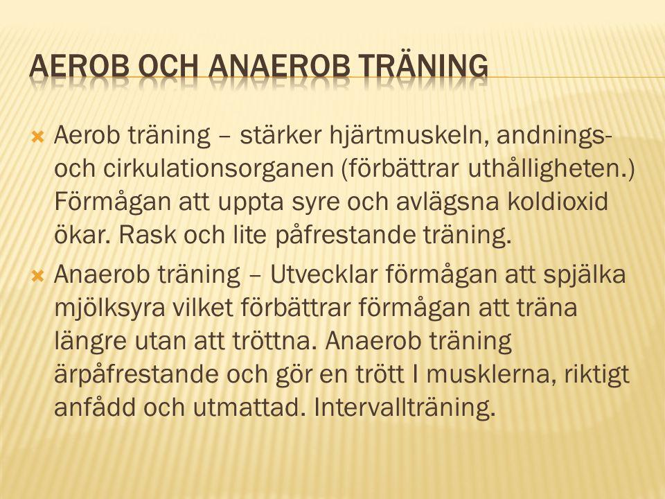  Aerob träning – stärker hjärtmuskeln, andnings- och cirkulationsorganen (förbättrar uthålligheten.) Förmågan att uppta syre och avlägsna koldioxid ö