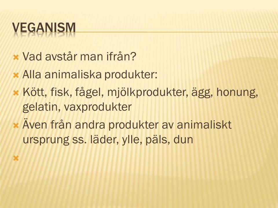  Vad avstår man ifrån?  Alla animaliska produkter:  Kött, fisk, fågel, mjölkprodukter, ägg, honung, gelatin, vaxprodukter  Även från andra produkt