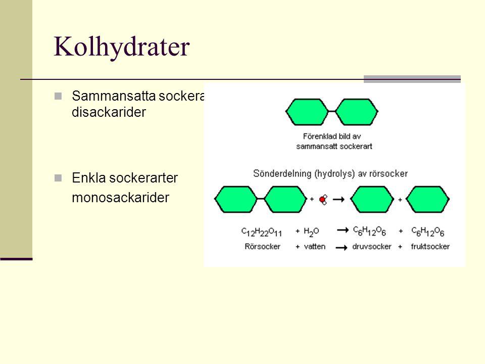 Kolhydrater Sammansatta sockerarter- disackarider Enkla sockerarter monosackarider