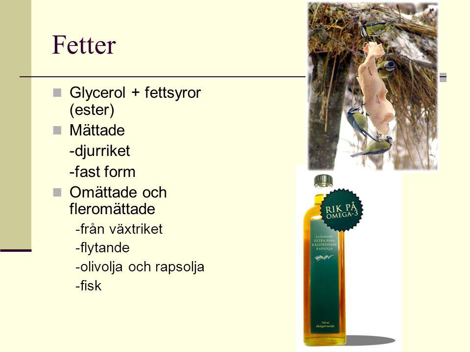 Fetter Glycerol + fettsyror (ester) Mättade -djurriket -fast form Omättade och fleromättade -från växtriket -flytande -olivolja och rapsolja -fisk
