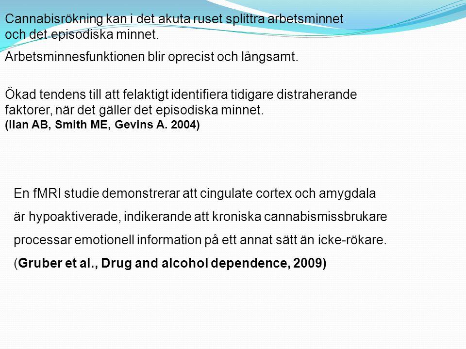 Cannabis och inlärning  Inlärning som kopplas till associationer, försvåras.