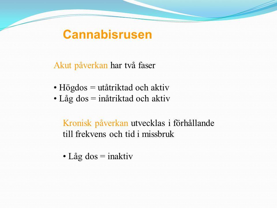Cannabisplantan innehåller över 412 kända ämnen som tillhör 18 olika klasser. 61 är cannabinoider, psykoaktiva substanser, som är fettlösliga. Δ-9-THC