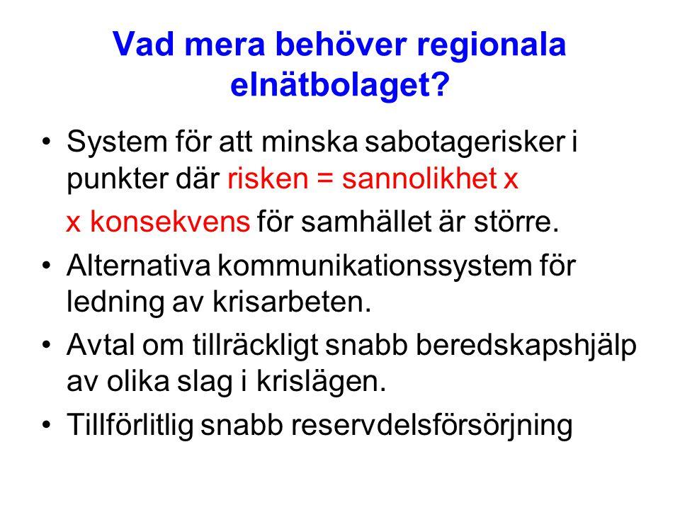 Vad mera behöver regionala elnätbolaget.