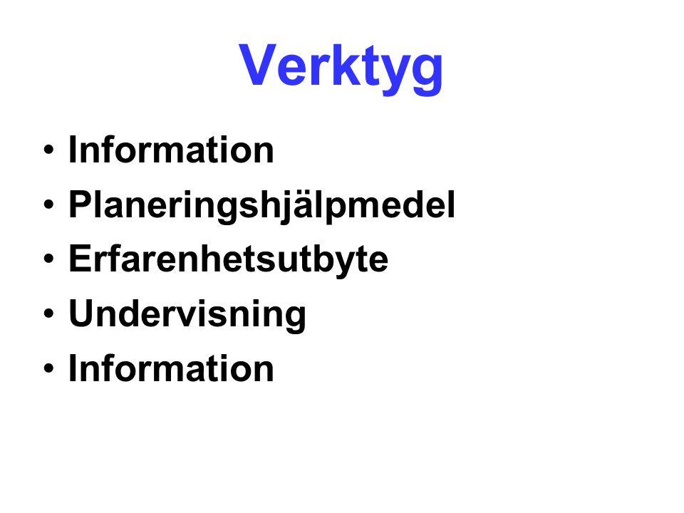 Verktyg Information Planeringshjälpmedel Erfarenhetsutbyte Undervisning Information