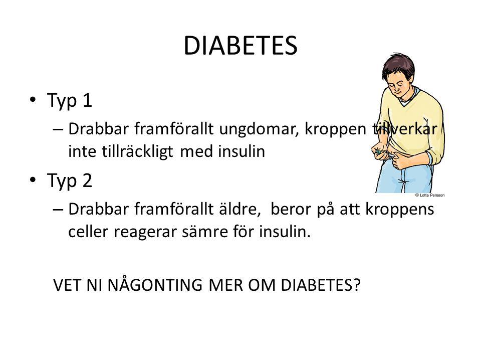 DIABETES Typ 1 – Drabbar framförallt ungdomar, kroppen tillverkar inte tillräckligt med insulin Typ 2 – Drabbar framförallt äldre, beror på att kroppe