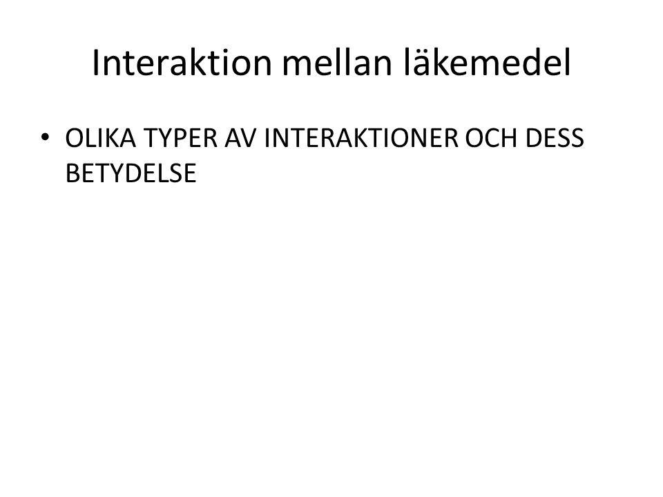 Interaktion mellan läkemedel OLIKA TYPER AV INTERAKTIONER OCH DESS BETYDELSE