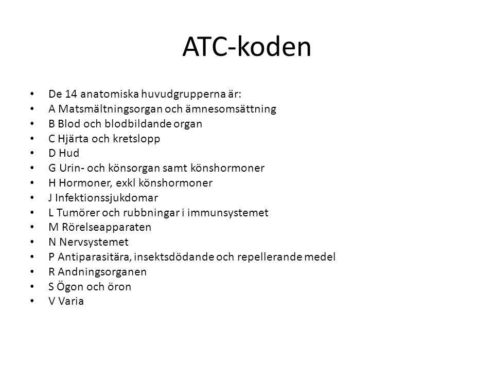 ATC-koden De 14 anatomiska huvudgrupperna är: A Matsmältningsorgan och ämnesomsättning B Blod och blodbildande organ C Hjärta och kretslopp D Hud G Ur