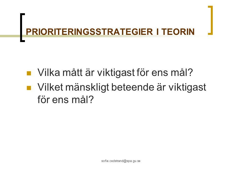 sofie.cedstrand@spa.gu.se PRIORITERINGSSTRATEGIER I TEORIN Vilka mått är viktigast för ens mål.