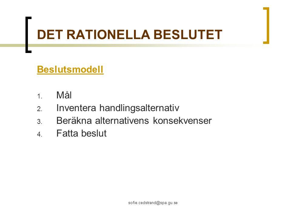 sofie.cedstrand@spa.gu.se DET RATIONELLA BESLUTET Beslutsmodell 1.