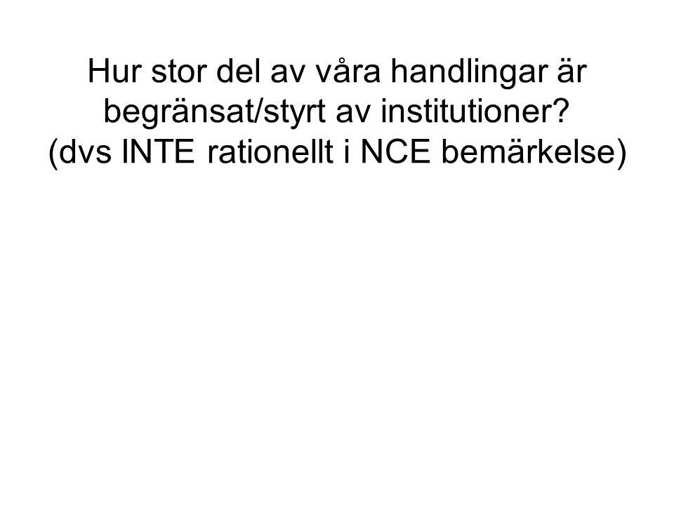 Hur stor del av våra handlingar är begränsat/styrt av institutioner? (dvs INTE rationellt i NCE bemärkelse)