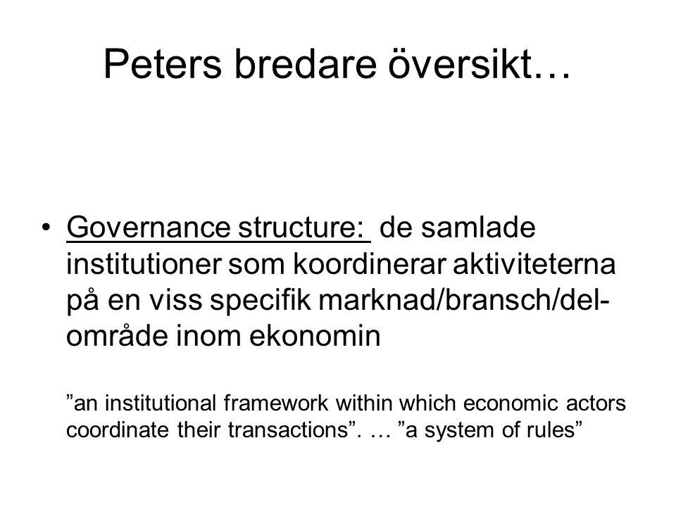 Peters bredare översikt… Governance structure: de samlade institutioner som koordinerar aktiviteterna på en viss specifik marknad/bransch/del- område