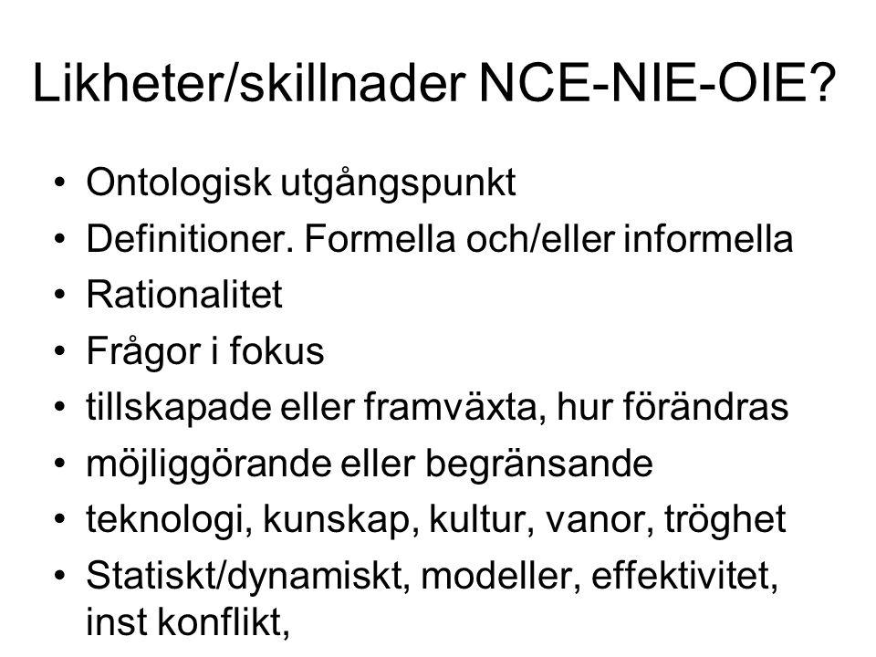 Likheter/skillnader NCE-NIE-OIE? Ontologisk utgångspunkt Definitioner. Formella och/eller informella Rationalitet Frågor i fokus tillskapade eller fra
