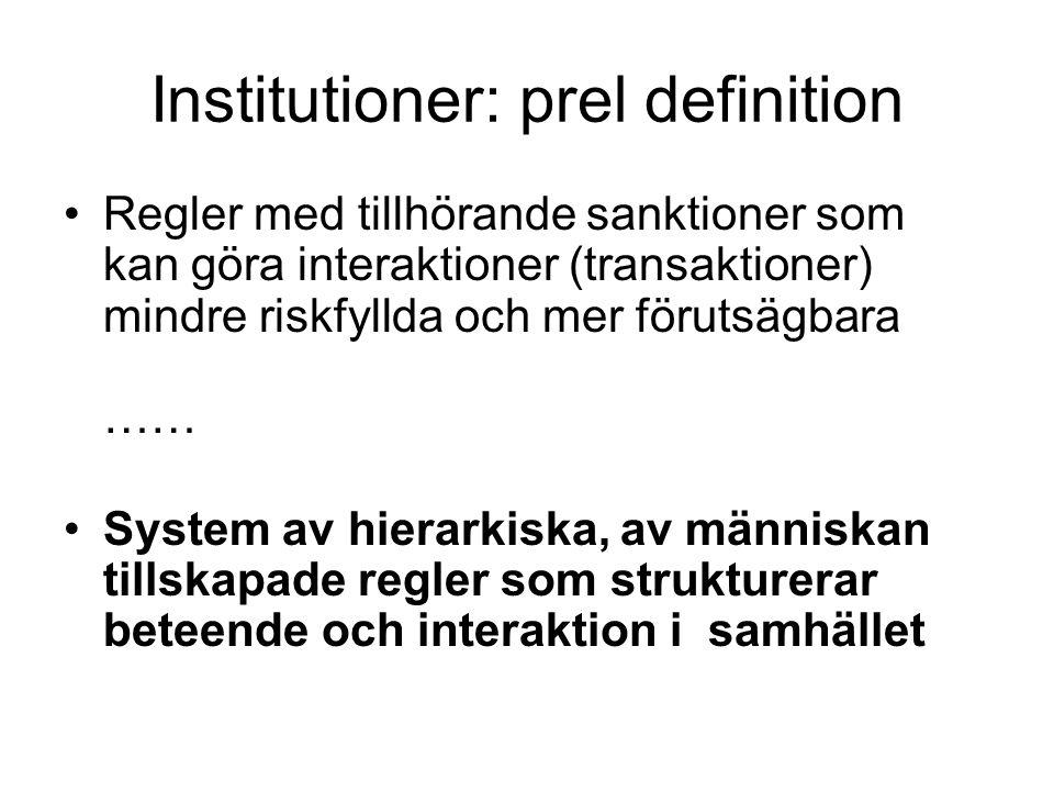 Institutioner: prel definition Regler med tillhörande sanktioner som kan göra interaktioner (transaktioner) mindre riskfyllda och mer förutsägbara ……
