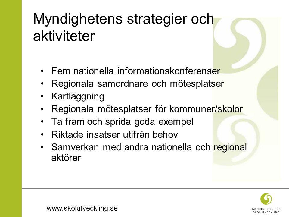 www.skolutveckling.se Myndighetens strategier och aktiviteter Fem nationella informationskonferenser Regionala samordnare och mötesplatser Kartläggnin