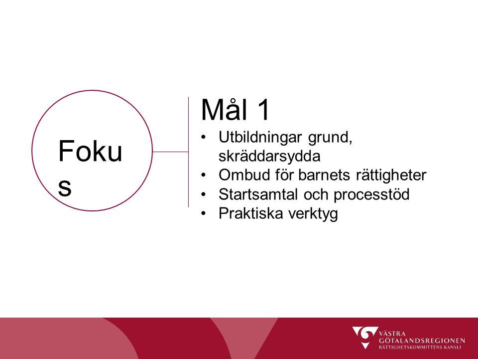 Foku s Mål 1 Utbildningar grund, skräddarsydda Ombud för barnets rättigheter Startsamtal och processtöd Praktiska verktyg