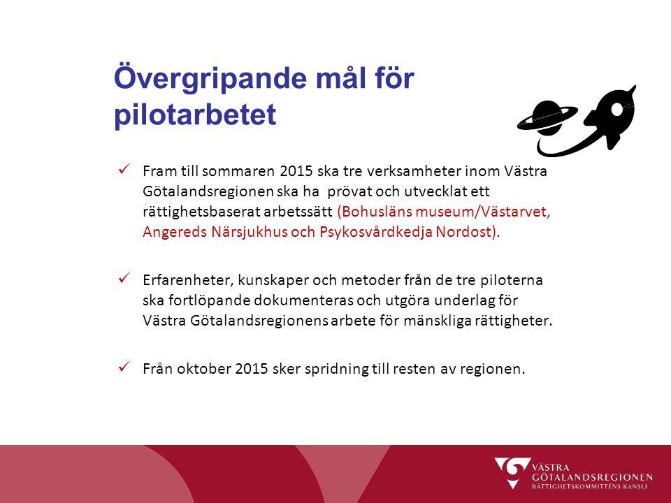 Övergripande mål för pilotarbetet Fram till sommaren 2015 ska tre verksamheter inom Västra Götalandsregionen ska ha prövat och utvecklat ett rättighet