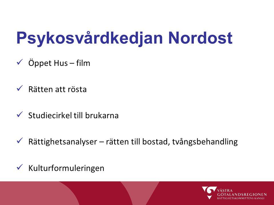 Psykosvårdkedjan Nordost Öppet Hus – film Rätten att rösta Studiecirkel till brukarna Rättighetsanalyser – rätten till bostad, tvångsbehandling Kultur