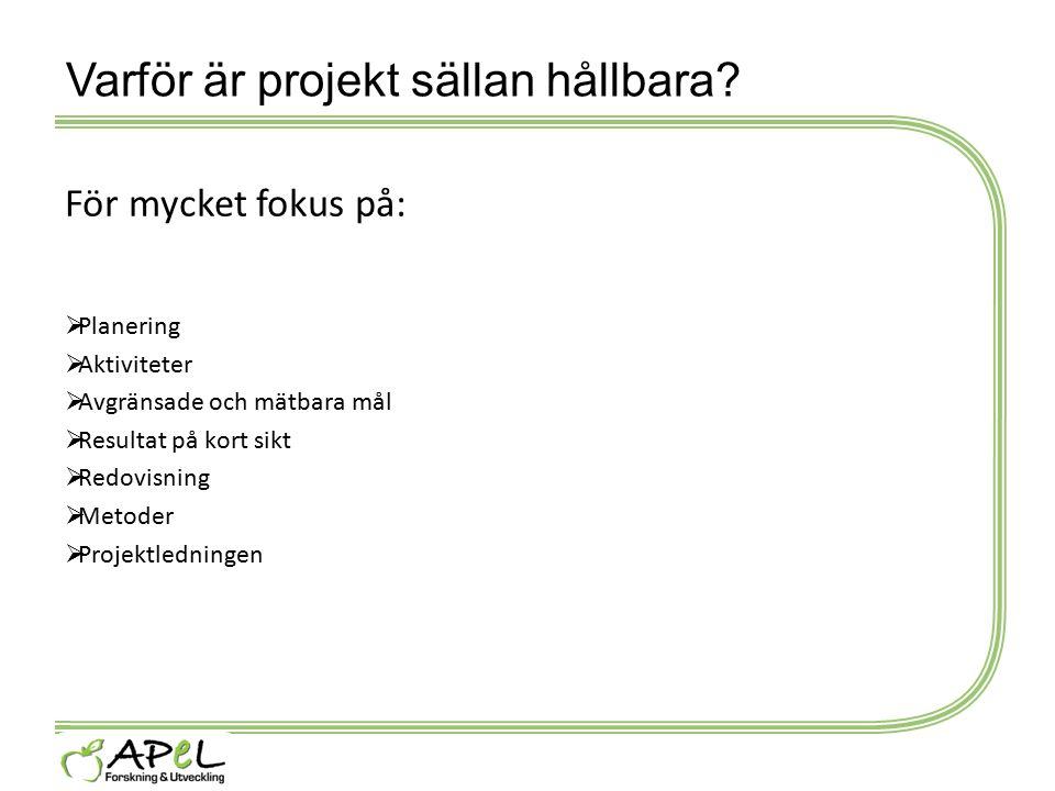 Varför är projekt sällan hållbara? För mycket fokus på:  Planering  Aktiviteter  Avgränsade och mätbara mål  Resultat på kort sikt  Redovisning 