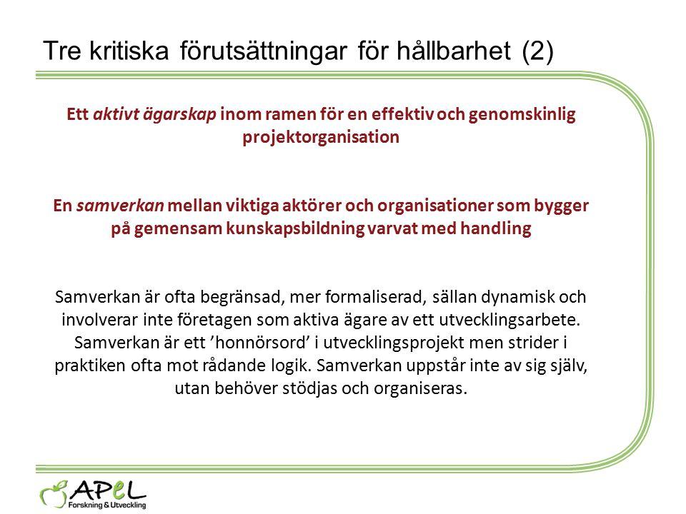 Tre kritiska förutsättningar för hållbarhet (2) Ett aktivt ägarskap inom ramen för en effektiv och genomskinlig projektorganisation En samverkan mella