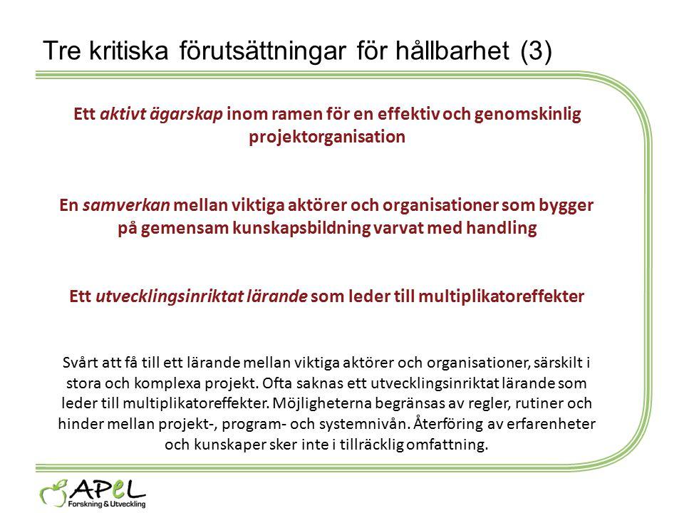 Tre kritiska förutsättningar för hållbarhet (3) Ett aktivt ägarskap inom ramen för en effektiv och genomskinlig projektorganisation En samverkan mella